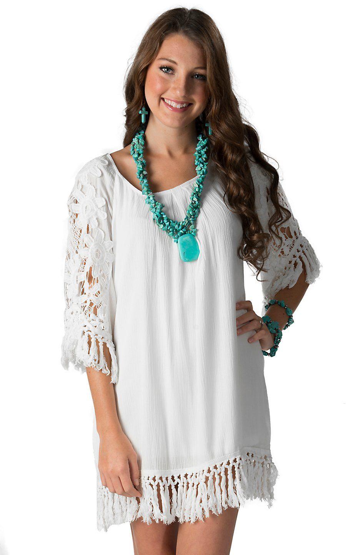 Karlie Women S White With Crochet Tassel Trim 3 4 Sleeve Dress Cowgirl Dresses Country Western Dresses Women [ 1440 x 900 Pixel ]