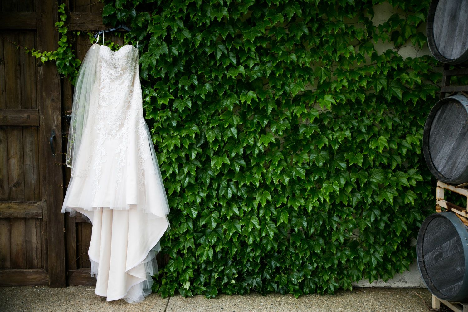Wedding dress photographed at Avio Winery, Sutter Creek, CA. Sutter Creek Wedding, photography by Kept In Time Photography.