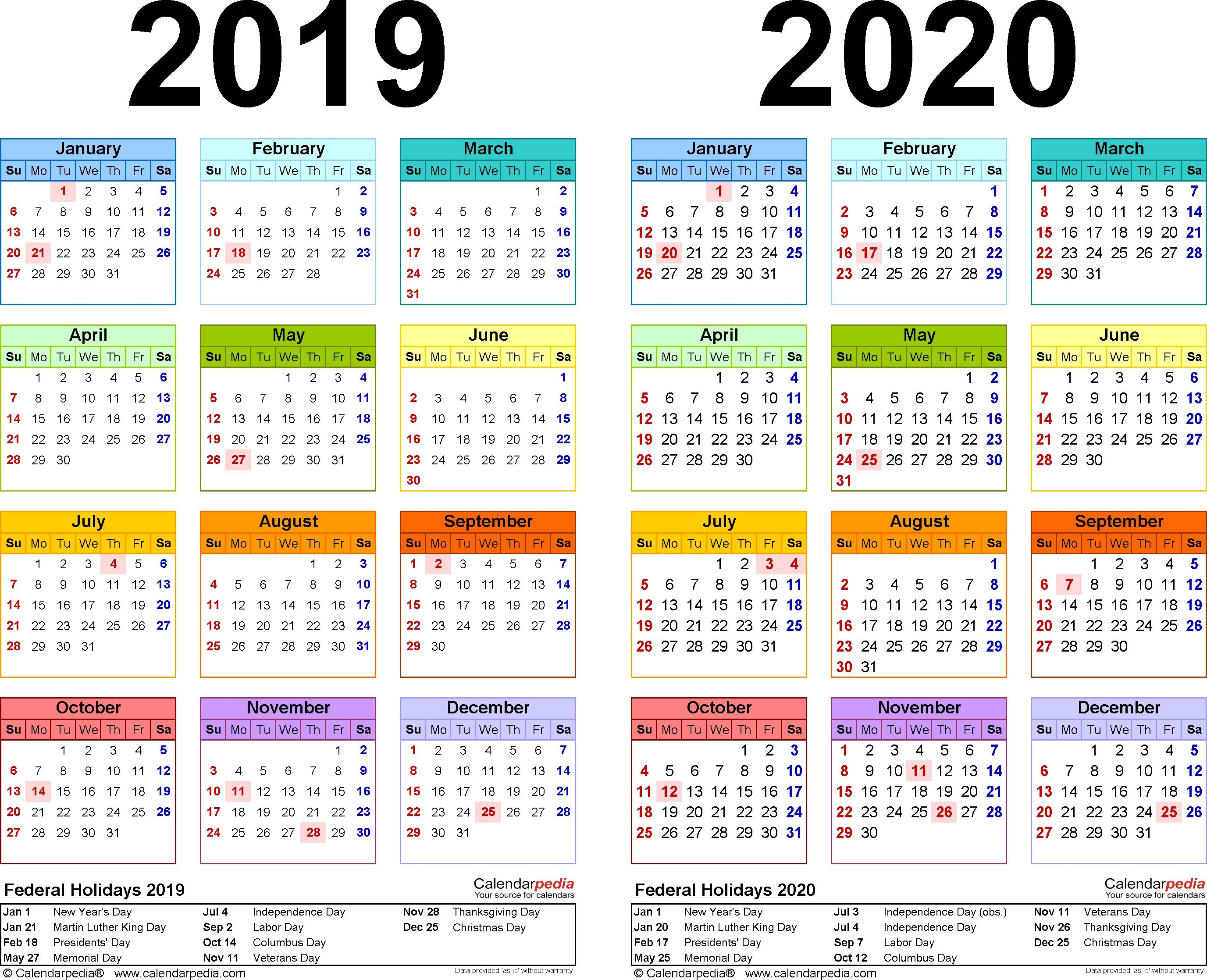 Modello Calendario 2020.2019 2020 Calendar Free Printable Two Year Excel Calendars