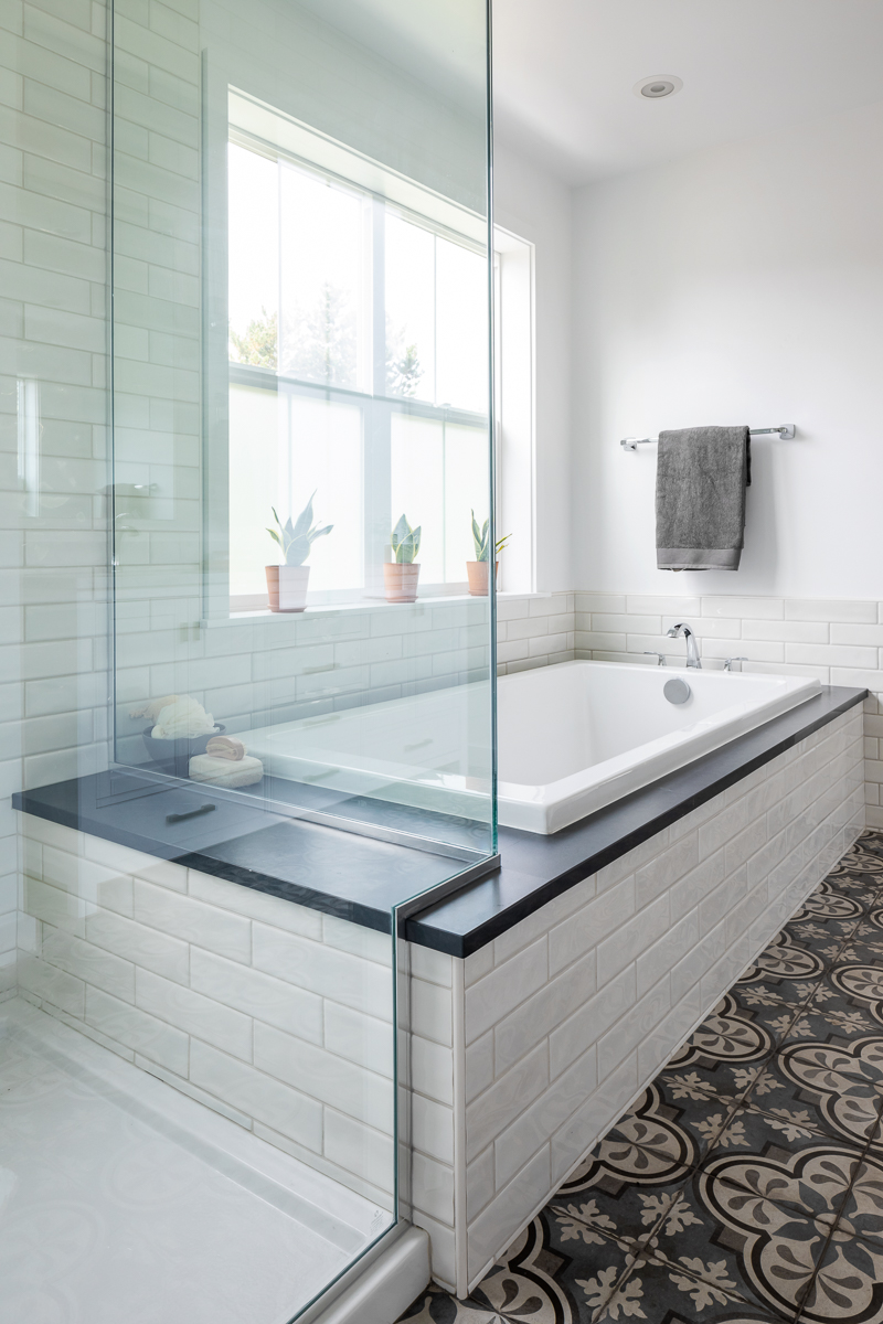 Master Bath With Both A Built In Bathtub And Walk In Shower