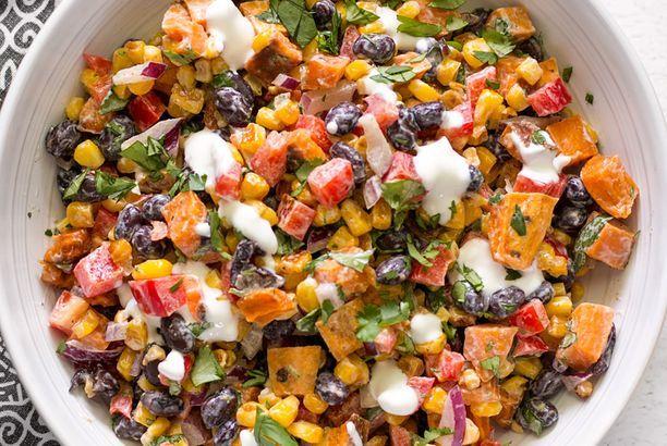 Roasted Sweet Potato Rainbow Salad with Lime Crema