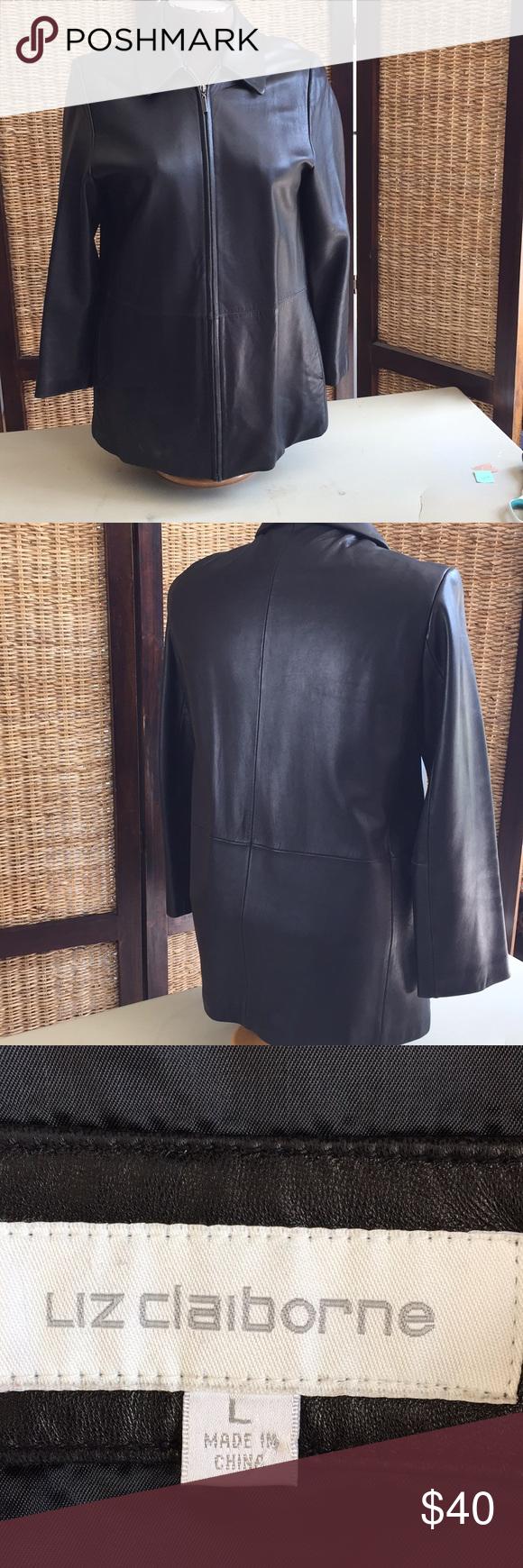 Liz Claiborne Black Leather Jacket With Zipper Black Leather Jacket Black Leather Leather Jacket [ 1740 x 580 Pixel ]