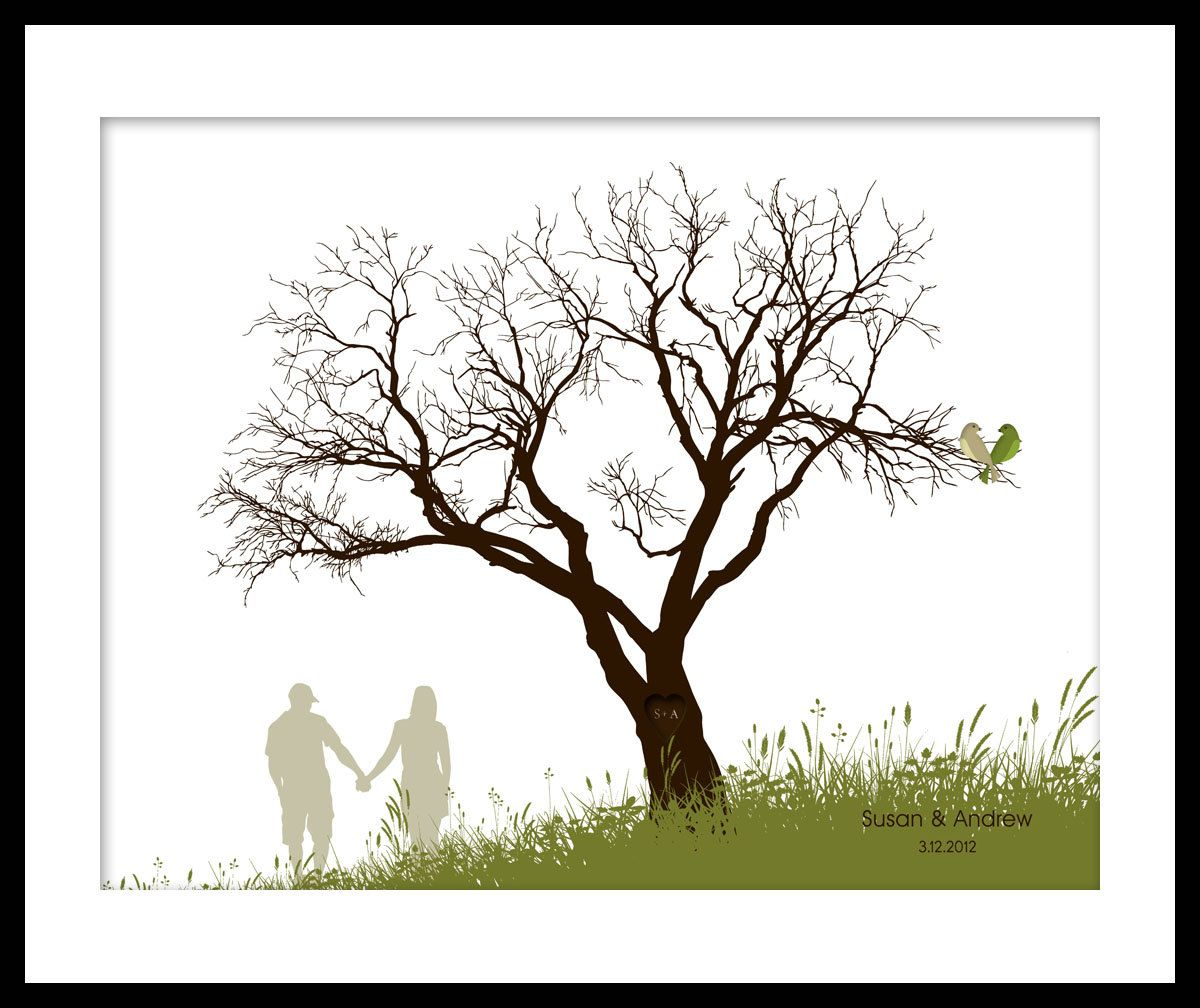 Extra Large Oak Thumbprint Guest Book Tree 26x20 Customized