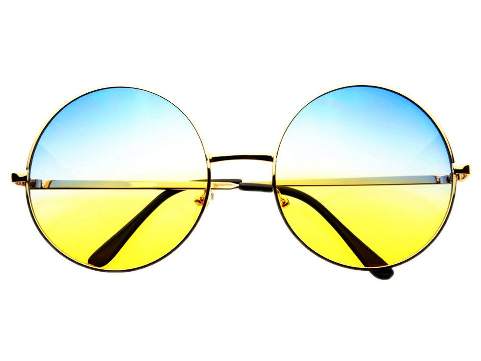 Blue Yellow Lens Large Oversized Metal Circle Round Sunglasses R1803 – FREYRS - Beautifully designed, cheap sunglasses for men & women