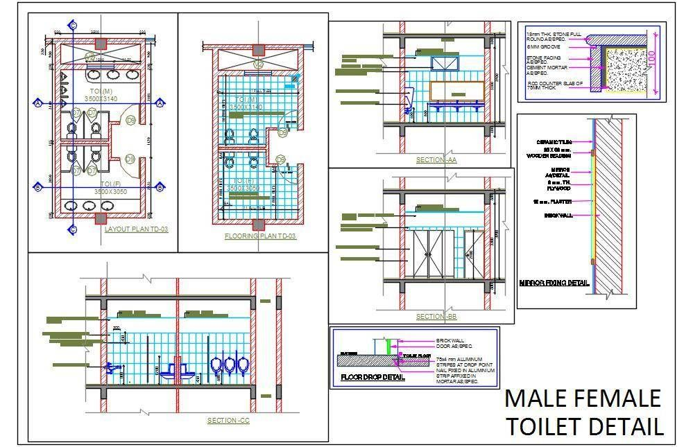 Male Female Toilet Detail Toilet plan, Toilet, Working
