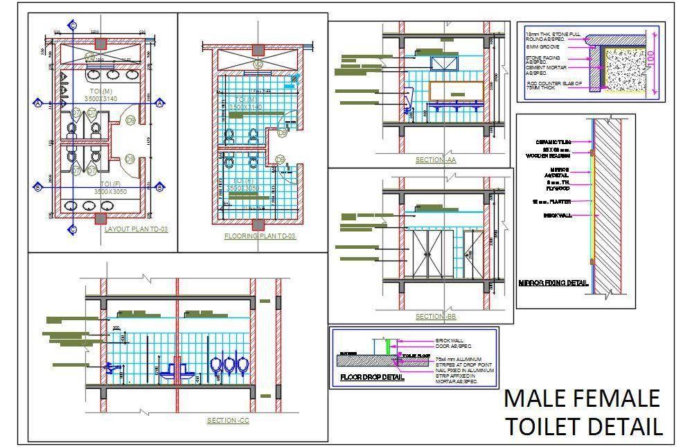 Male Female Toilet Detail Toilet Plan Architecture Design