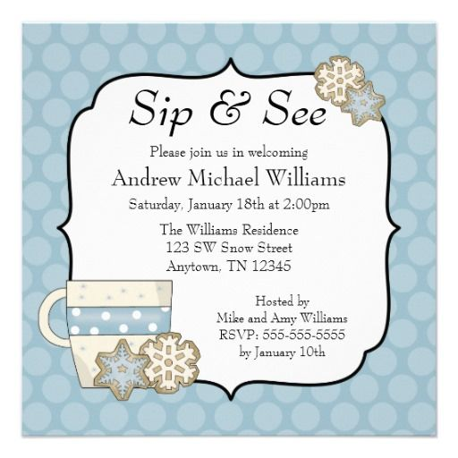Snowflake Blue Polka Dot Sip And See Invitation Zazzle