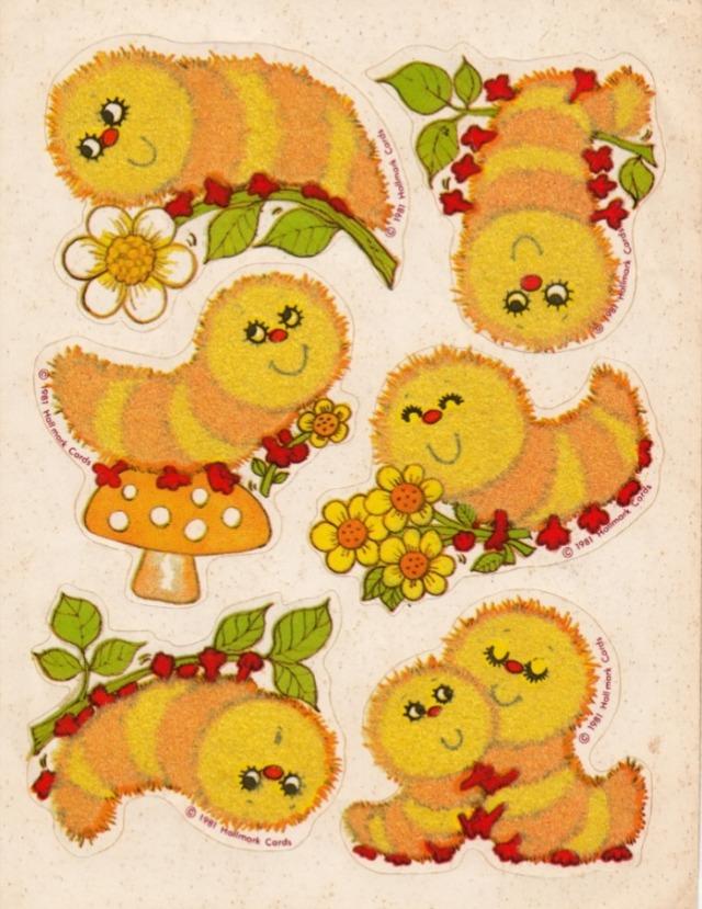 "Square 2/"" x 2"" Vintage Hallmark Stickers Adorable Flowers"