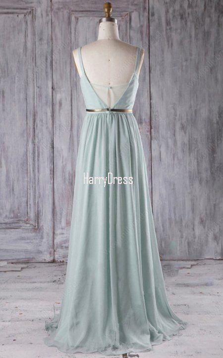 Light Green A Line V Neck Chiffon Floor Length Sashes Ribbons Bridesmaid  Dress