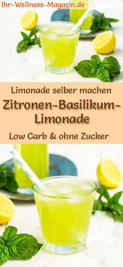 Zitronen-Basilikum-Limonade selber machen - Low Carb & ohne Zucker