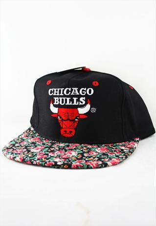 Custom Vintage Chicago Bulls Floral Snapback Hat Cap