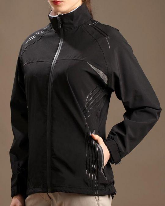 Black Glen Echo Ladies Stretch Tech Rain Golf Jacket Best Golf Outerwear At Lorisgolfshoppe With Images Golf Jackets Lady Jackets