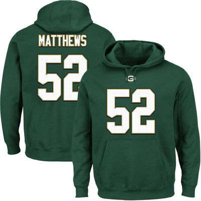 Majestic Clay Matthews Green Bay Packers Green Eligible Receiver II Name    Number Hoodie b85d6a2b1