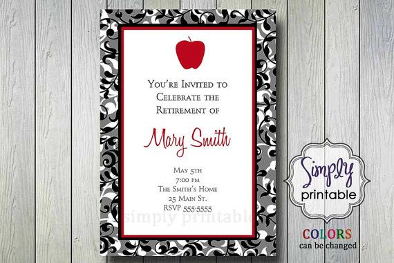 teacher retirement party invitation with apple crafts pinterest