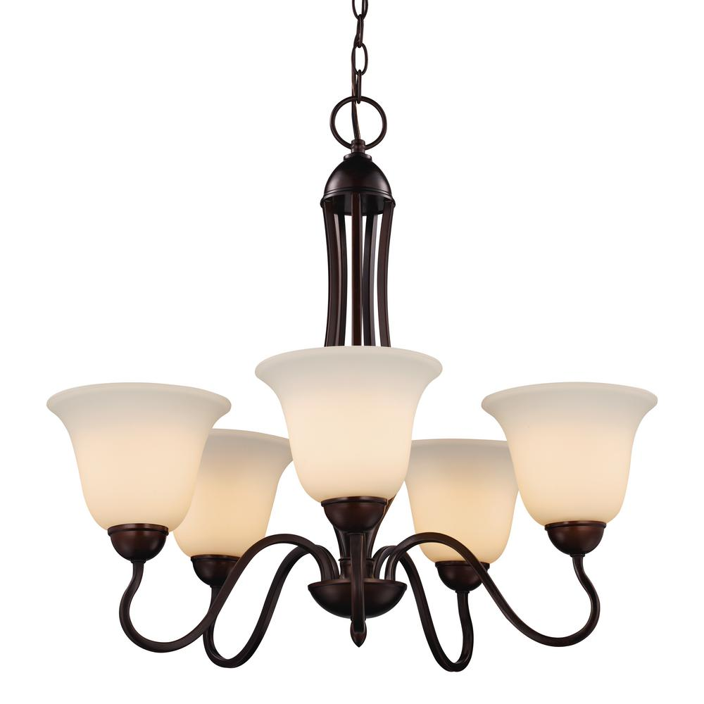 Bel Air Lighting Glasswood 5 Light Rubbed Oil Bronze Chandelier With Frosted Shade