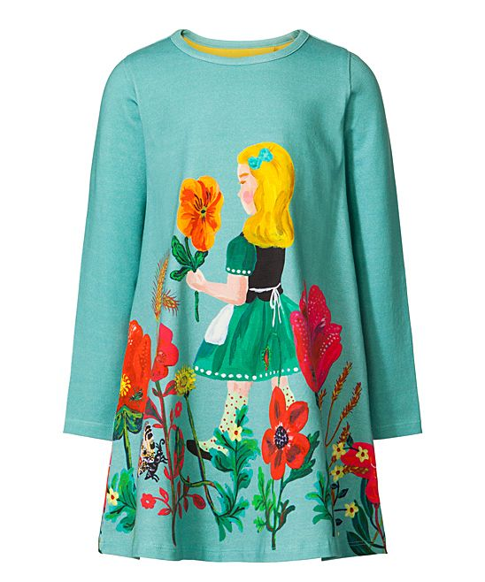 cf553976f Turquoise Floral Girl Shift Dress - Toddler & Girls | Products ...