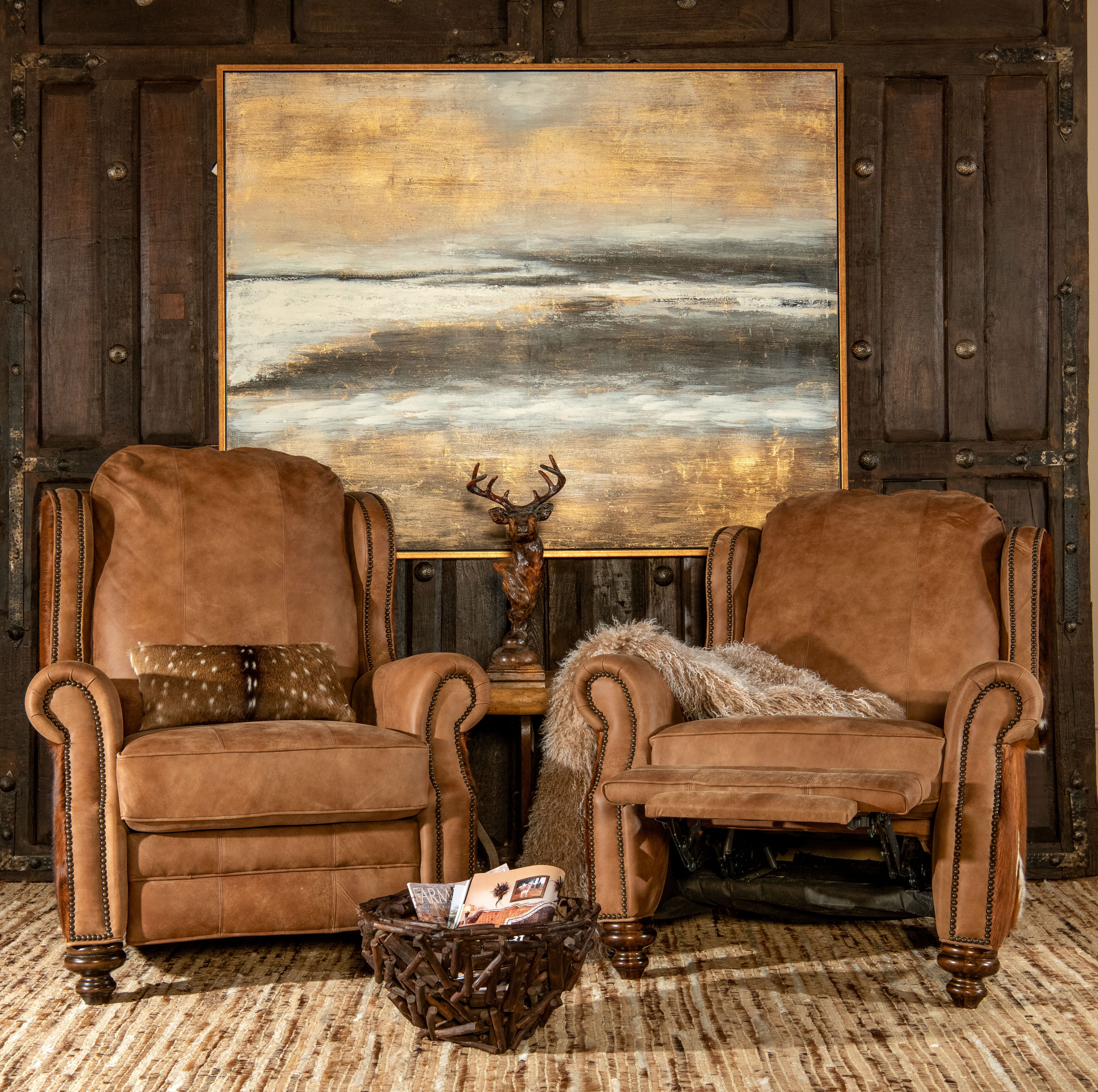 Cowboy Brindle Recliner Ranch Style Decor Rustic Living Room Furniture Ranch Decor