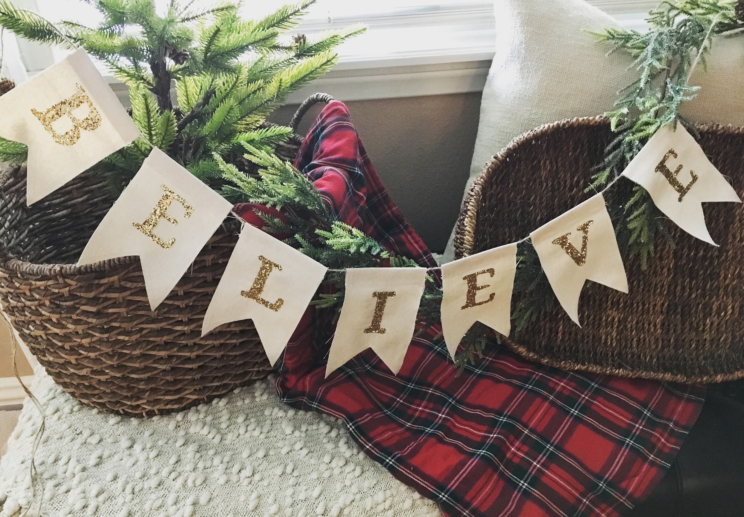 Sparkle Believe Canvas Flag Banner Christmas Banner Holiday Banner