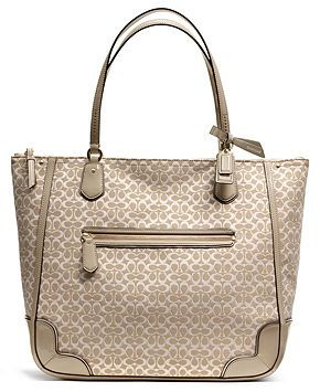COACH POPPY TOTE IN SIGNATURE C METALLIC OUTLINE FABRIC - Coach Special  Offers - Handbags   36d9bbfc63d60
