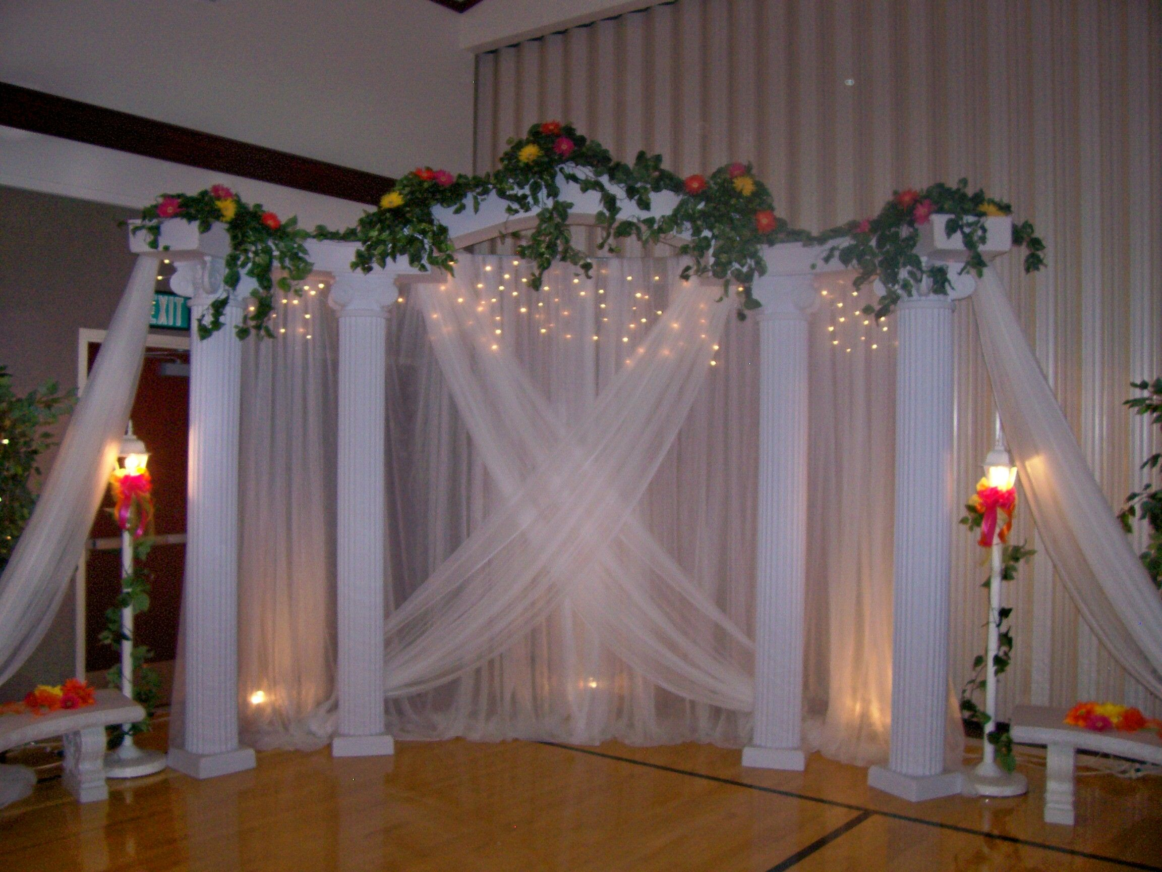 Pic of wedding columns backdrops cake classic for Wedding backdrops