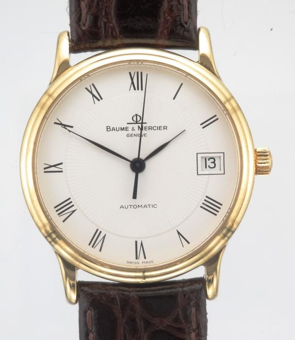 MENS 18CT GOLD BAUME & MERCIER AUTOMATIC WATCH - Attenborough Pawnbrokers & Jewellers