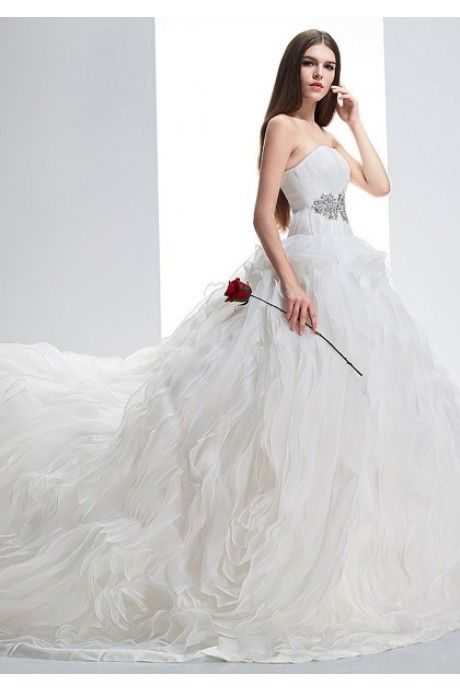 ab355127b137f ウェディングドレス ハートカット チャペル オーガンザ ボールガウン ...