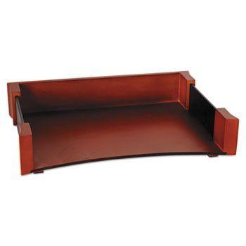 Letter Tray, Leather/wood, Mahogany