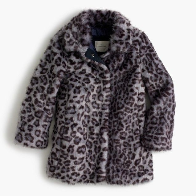 Girls Leopard Faux Fur Coat Coat Leopard Faux Fur Coat