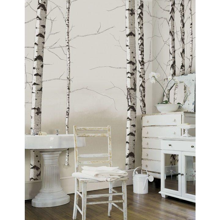 Birch Tree Wallpaper Bathroom Accent Wall: 4 Walls Modern Murals Birch Trees Mural In Neutral