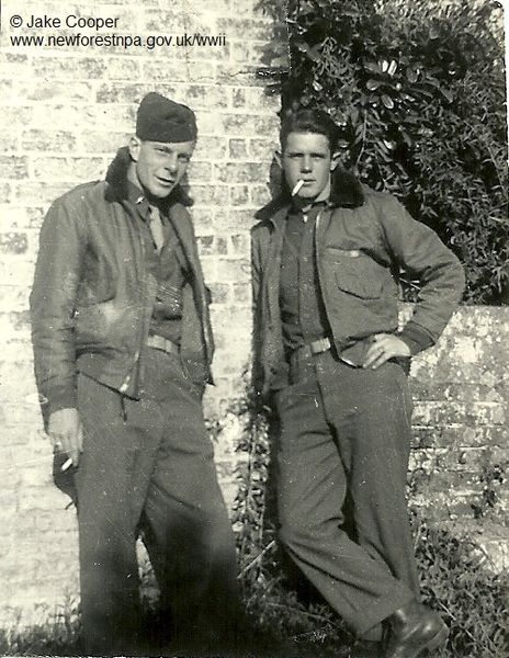 Jake Cooper (R) with his 493rd Squadron colleague and friend, Jim Watson outside Ibsley Grange. Jim was tragically killed in action in December 1944 during the Battle of the Bulge.