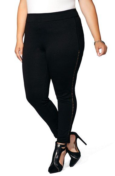 4133f02b0f7d4 Main Image - mblm by Tess Holliday Faux Leather Laced Ponte Leggings (Plus  Size)