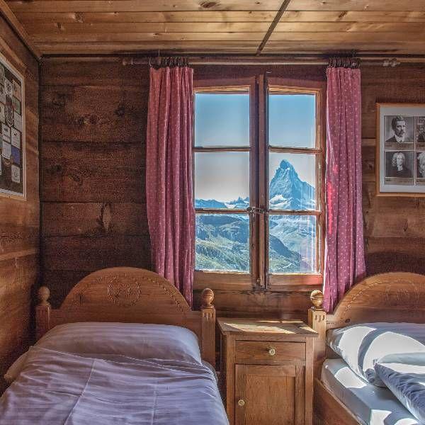 Mountain view thru window. Fluhalp   Zermatt, Switzerland