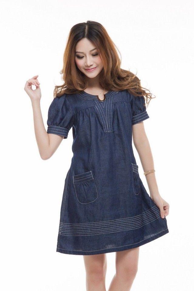 Womens Short Denim Dresses In Plus Sizes Short Sleeve Denim Dress