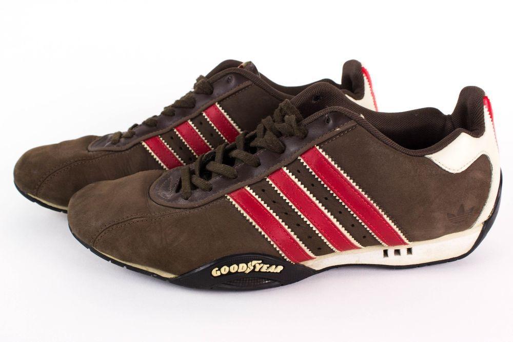 Adidas Original Mens Sz 9 Brown Red Stripe Adi Low Racer Goodyear Driving Shoes  #Adidas #AthleticSneakers