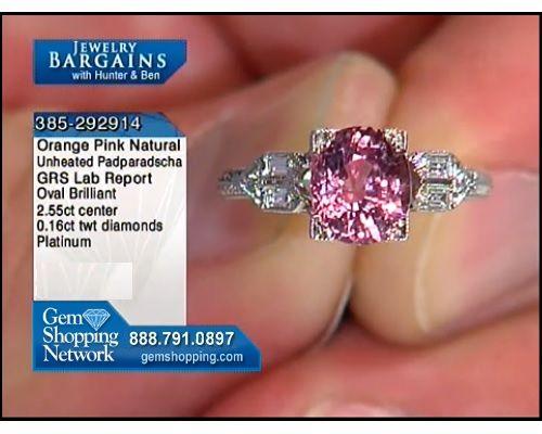 2.55 ct Natural Unheated Orange Pink Padparadscha Sapphire Brilliant Oval & 0.16 ctw Diamond Baguette Platinum Ring, Size 5.25