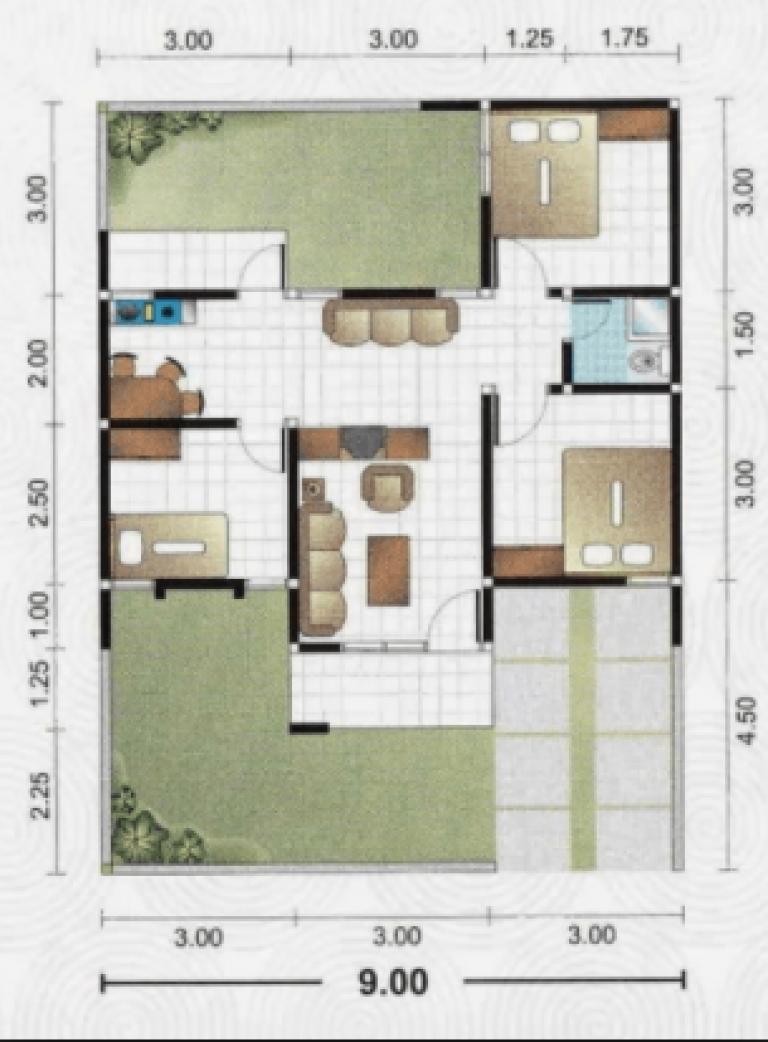 20 Gambar Denah Rumah Ukuran 8x10 3 Kamar Tidur Denah Rumah Rumah Minimalis Denah Lantai Rumah