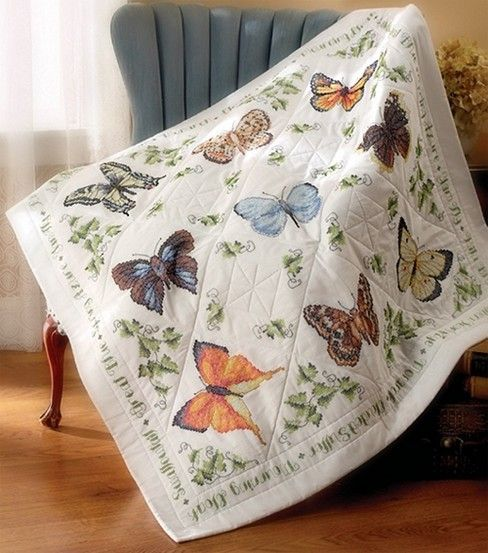 Bucilla Lap Quilt Stamped Cross Stich Butterfly | Lap quilts ... : how to make a lap quilt - Adamdwight.com