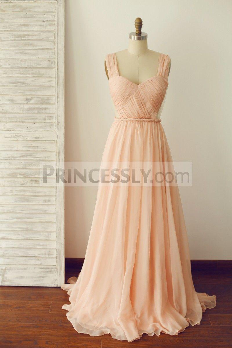 A line backless peach chiffon prom dress cornflower bluepeach
