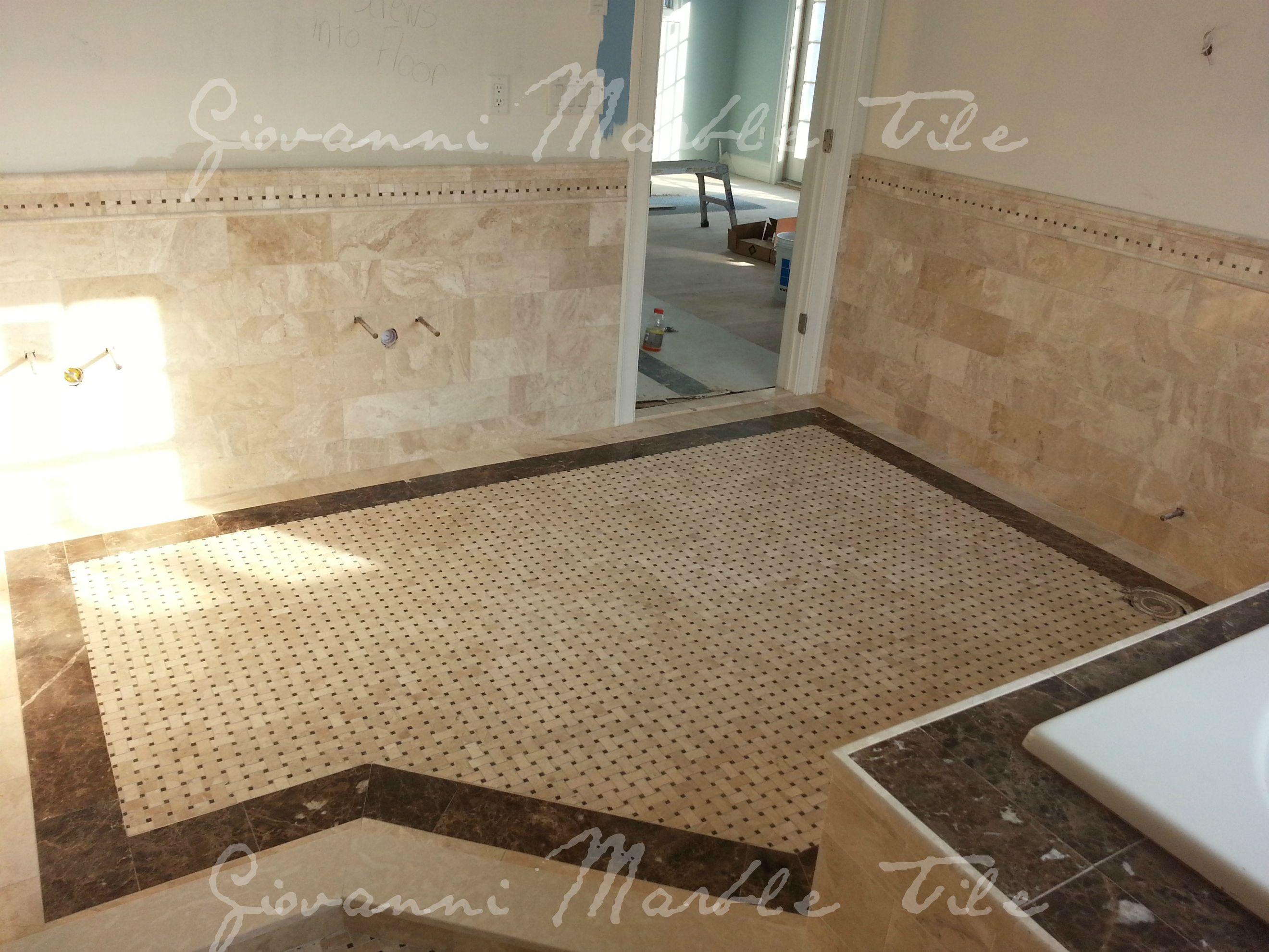 Custom Floor Inlay With Crema Marfil Brown Emperador Marble With Basket Weave Mosaic Inset Custom Tiles Unique Flooring Custom Floor