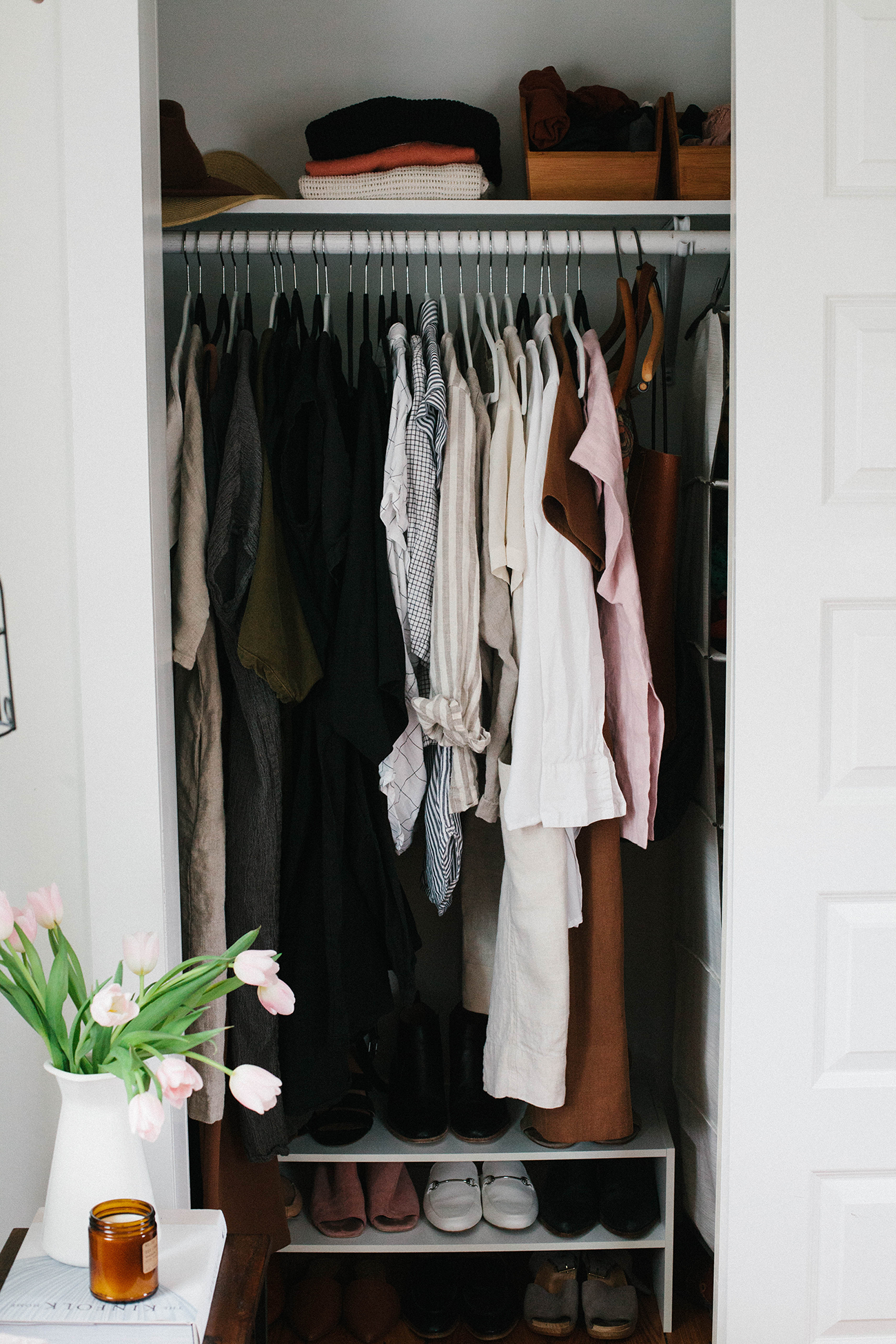 Style What S In My Closet Currently And A Spring 10x10 Challenge A Daily Something Minimalist Closet Organization Wardrobe Closet Organizer Minimalist Closet