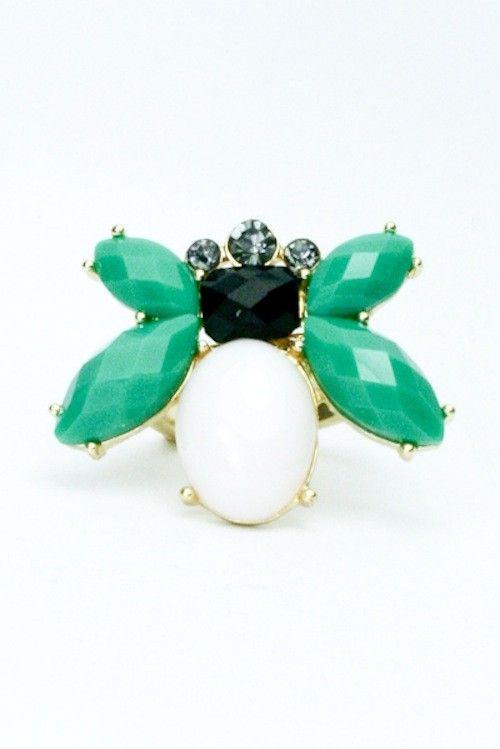 BEE ME GREEN/NAVY RING - $9.99 #bee #bees #bumblebee #bugjewelry #bugrings #buggemstones