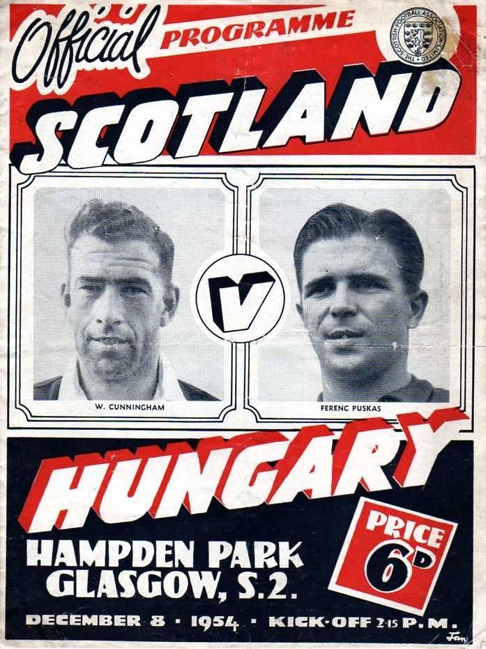 Scotland 2 Hungary 4 in Dec 1954 at Hampden Park. The