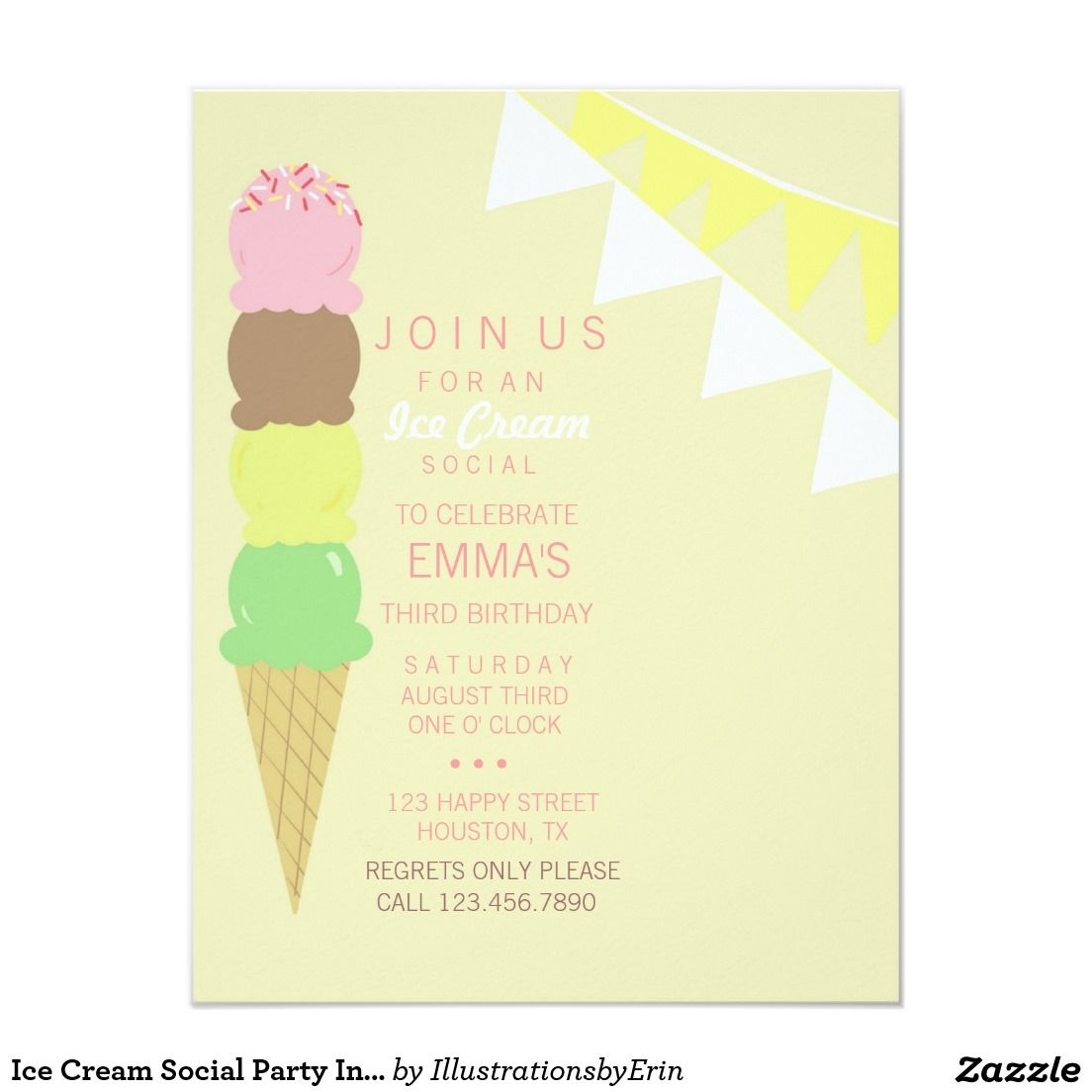 Ice Cream Social Party Invitation   Ice cream social and Party ...