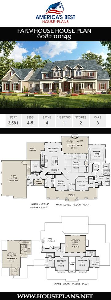 House Plan 6082 00149 Farmhouse Plan 3 581 Square Feet 4 5 Bedrooms 4 5 Bathrooms House Plans Farmhouse Farmhouse Plans New House Plans