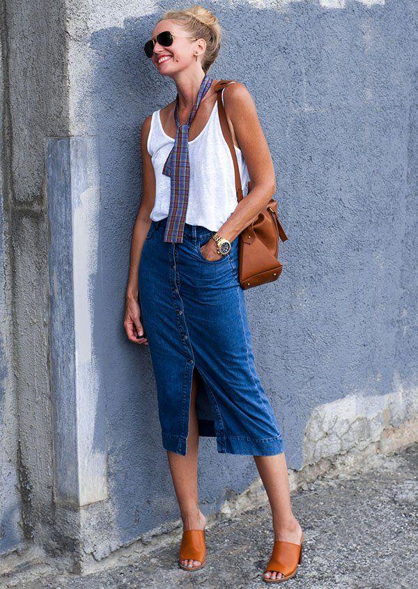 93bbdf1b13 Oito looks diferentes para você usar saia jeans mídi | JEANS ...