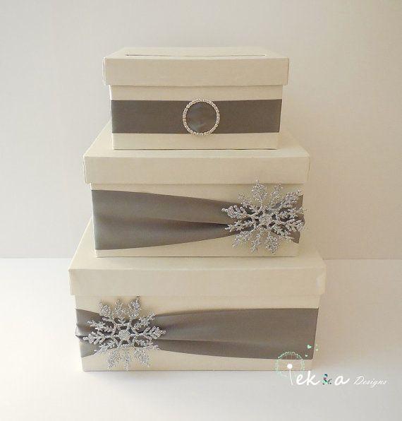 Wedding Card Box Money Holder Gift 3 Tier Ivory Metal Grey Winter