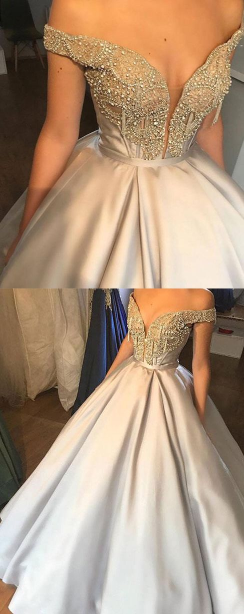 Beautiful Prom Dresses Ball Gown Off The Shoulder Rhinestone Long