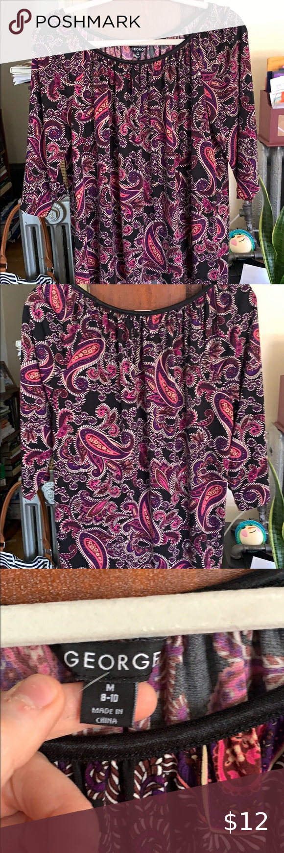 Fun print top Polyester top- perfect for a job interview/occasion where you need...