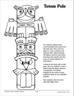 Native american totem pole coloring pages ~ Eskimo Totem Pole Coloring Sheet | ☆♥Totem Poles & Sticks ...