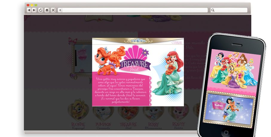 Website que hemos hecho para Palace Pets donde, además de presentarte a las mascotas de las Princesas Disney, podrás hacerte un álbum con tus fotos favoritas con tu mascota y personalizarlo con pegatinas Disney. #Diseño Responsive #HTML5 #JS.